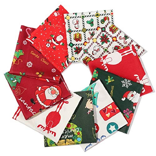 Migaven 20pcs Christmas Pattern Cotton Fabric Bundles Sewing Textile Material Patchwork Cloth for Christmas DIY Quilting 9.84 x 9.84inch