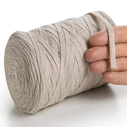 MeriWoolArt - Hilo de algodón para tejer, macramé, ganchillo, cinta de regalo navideña, hilo textil de 10 mm, 150 m, color beige