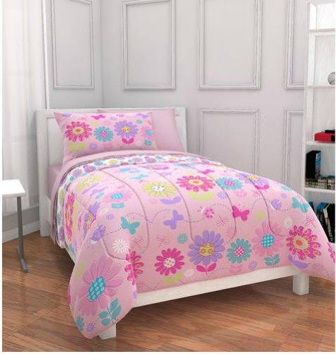Kreative Kids Pink Daisies & Butterflies Girls Twin Comforter Set (5 Piece Bed in A Bag)