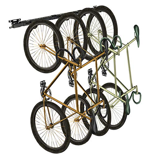 AIMEZO Bike Storage Rack Foldable Bike Wall Mounted Bike Hanger Holder, Bicycle Storage Rack for 4 Bicycles, Storage Systems for Home Garage (Balck)