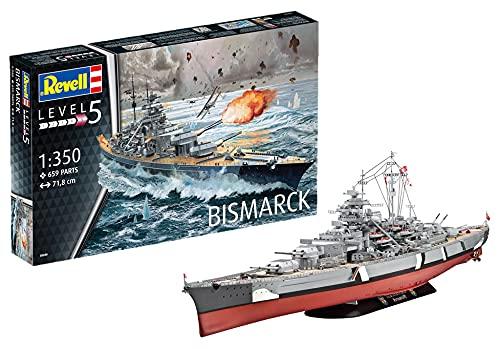 Revell REV-05040 Bismarck, das größte und modernste Schlachtschiff Seiner Zeit, Schiffsbausatz 1:350, 71,8cm Maßstabsgetreu Toys, unlackiert