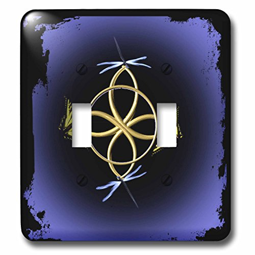 3dRose lsp_63363_2 a Gold Celtic Knot with Butterflies and Dragonflies Light Switch Cover