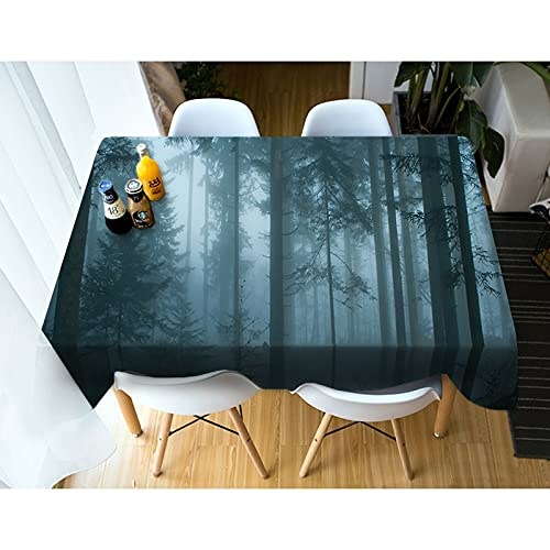 XXDD Paisaje 3D Mantel Natural Verde Bosque Río Montañas Paisaje Cubierta de Mesa Rectangular Mantel Redondo Decoración del hogar A1 140x160cm