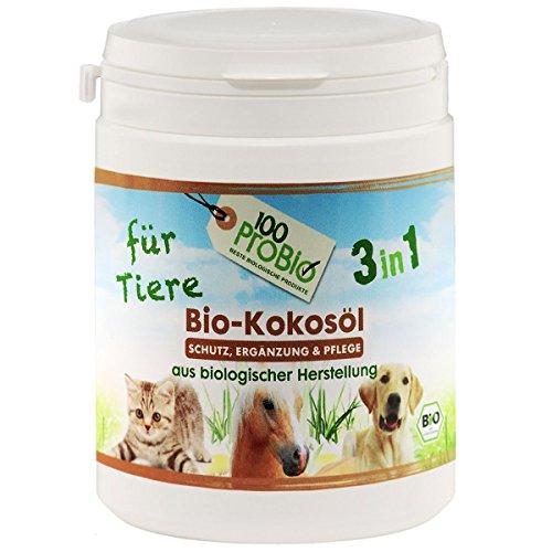 100ProBio Kokosöl für Tiere -zur Fellpflege und Nahrungsergänzung - ohne Chemie | Hund, Katze & Pferde | 1er Pack (1 X 250ml)