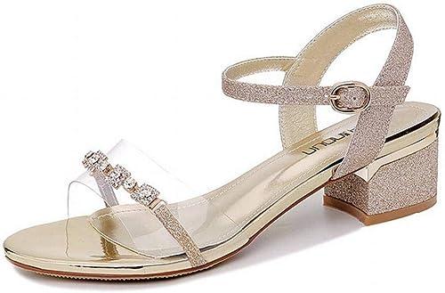 LTN Ltd - - sandals Mot avec des Sandales Transparentes Femme épaisse avec des Chaussures de Femmes Populaires Wenzhou Chaussures de L'été de Fée Vent, Or, 34  prix raisonnable