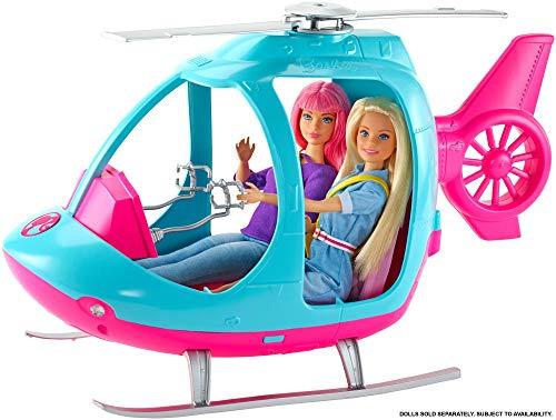 Barbie FWY29 l'Elicottero per Bambole, Rosa e Azzurro con Elica che Gira, Giocattolo per Bambini 3 + Anni