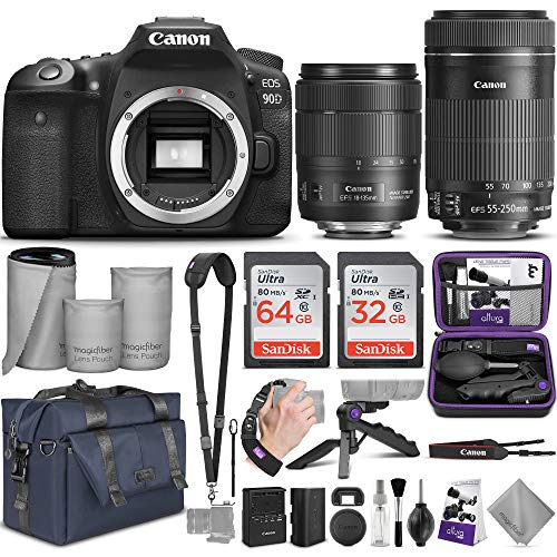 Canon EOS 90D DSLR Camera and Canon EF-S 18-135mm f/3.5-5.6 is USM + EF-S 55-250mm f/4-5.6 is STM Lens with Altura Photo Complete Accessory and Travel Bundle