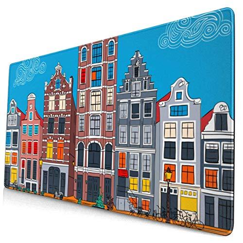 HENTIN Antislip rubberen gamingmuismat, rechthoekige muismat Stadsgezicht van Amsterdamse gracht Typische Nederlandse huizen en boten Holland Nederland 01
