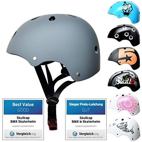 Skullcap® Skaterhelm Kinder Grau Just Gray - Fahrradhelm Jungen ab 6 Jahre Größe 53-55 cm - Scoot and Ride Helmet Kids - Skater Helm für BMX Scooter Inliner Fahrrad Skateboard Laufrad