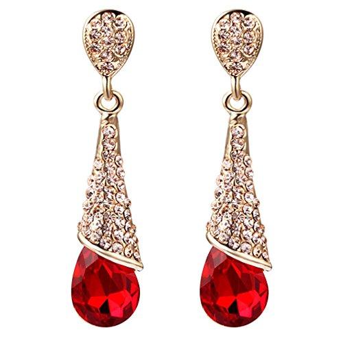 YAZILIND oro plateado moda cúbicos zirconia cz lágrima Waterdrop rhinestone colgante gota Dangel pendiente joyas regalo (rojo)