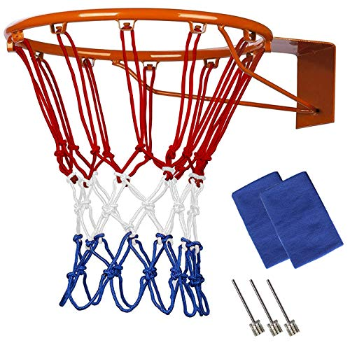 Profi Basketballnetz,Nylon Basketball Ersatz Netz,12 Loch Ersatznetz,Universal Basketball Netz passt Standard Indoor oder Outdoor Basketball Hoop,3 Farbig Basketball-Netz Zubehör (1 Packung)
