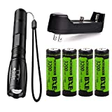LED 18650 Flashlights Set included 4pcs 3.7V 3200mAh Rechargeable 18650 Battery+Charger+Pocket-Size Flashlight, Zoomable Water Resistant 5 Modes Handheld Light for Camping Reading Outdoor