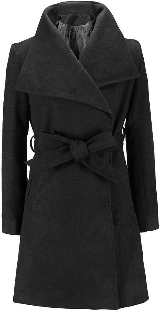 WUAI-Women Winter Coats Casual Lapel Wool Blend Double Breasted Pea Coat Trench Coat