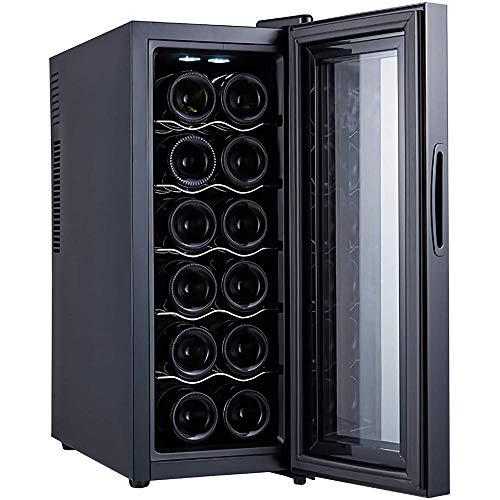 Enfriador de vino 12 botellas termoeléctrico Bodega Nevera Encimera pequeña Humedad constante Refrigerador de vino Control digital Puerta de vidrio Negro-B Estantes de metal