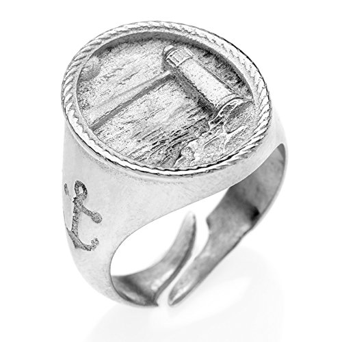 Anello chevalier Faro in argento 925 effetto vintage #MS093AN