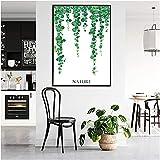 Pintura lienzo nórdico planta verde hoja cartel hoja de pal