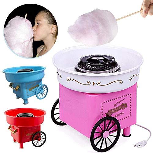 Zuckerwatte-Maschine, Zuckerwatte-Maschine Mit Rädern, Bodennut Aus Edelstahl Keramik-Heizrohrheizung Fast-500W, PP-Material In Lebensmittelqualität, Pink, Blau, Rot