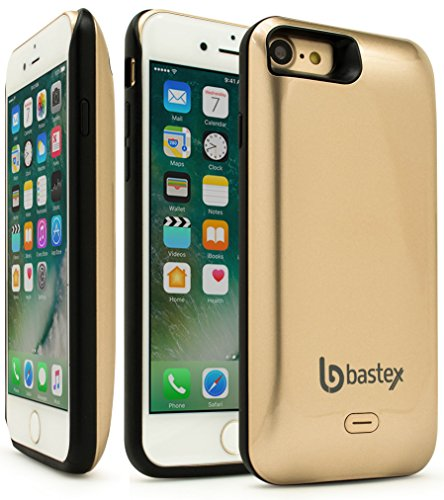 iPhone 7 Battery Charging Case, Bastex Slim Fit Gold Hard Plastic Rechargeable High Capacity Battery Charger, 5200mAh, Durable Rugged Protective Case Cover for Apple iPhone 7