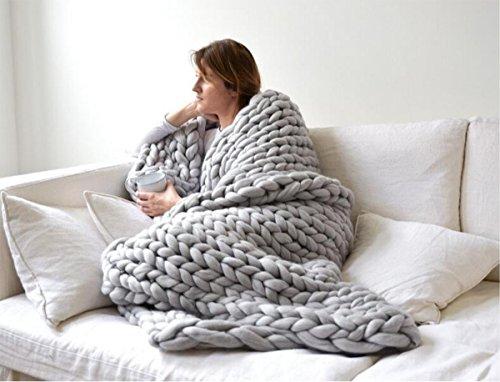 QLVY tosca lana tejida a mano cubierta de la manta que hace...
