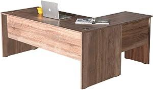 Adore New York Travail L-Table de Bureau L-(Virage à Gauche ou à Droite), Mélamine foncé Sonoma 22 mm, 181x75x148 cm