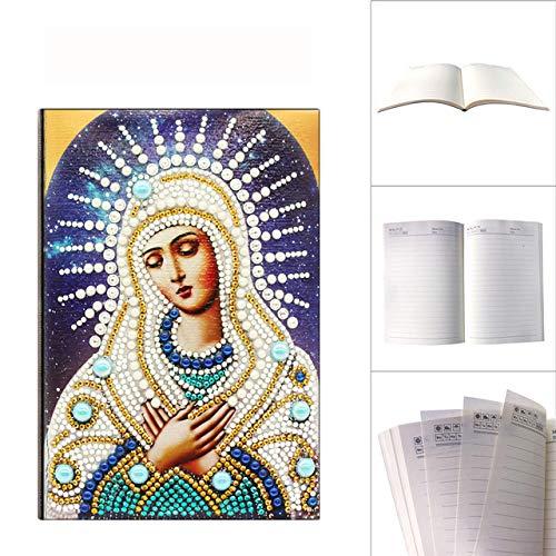PULE Cuaderno A5 DIY Diamante Pintura Diario Libro Diamante Kits de Arte Diario de Bordado de Diamantes en Forma Especial - 50 páginas,K