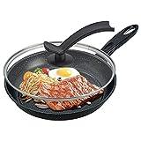 Sartén de hierro fundido, sartén con tapa Cacerola de cacerola antiaddice Set de cacerola de huevo Pan para freír salteado Pan, compatible con inducción Pan de freír, para cocina, fondo ordinario, 24