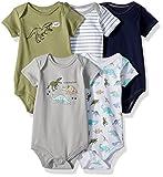 Hudson Baby Unisex Baby Cotton Bodysuits, Dinosaurs, 9-12 Months