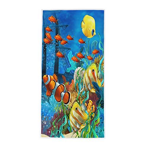 Toalla de mano con diseño de pez payaso de arrecife de coral, toalla de mano, suave, absorbente, para baño, habitación, cocina, hotel, piscina, spa, gimnasio, 38 x 76 cm
