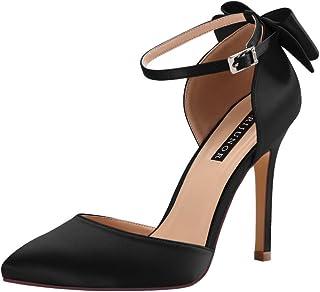 ERIJUNOR Women High Heel Bow Ankle Strap Evening Party...