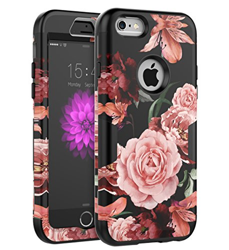TOPSKY iPhone 6 Case,iPhone 6s Case [Love Flower Series] Three Layer Heavy Duty Shockproof Anti-Scratch Soft Silicone Protective Case Fit for Apple iPhone 6/6s,Black Flowers