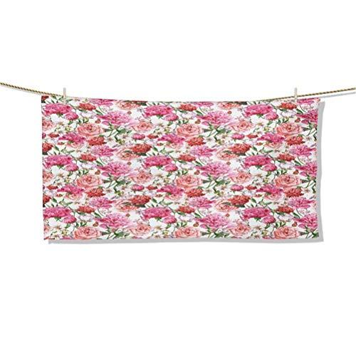 Toallas de Playa Verano Primavera Jardín Flores con Hojas y capullos Obras de Arte Toallas de baño Cena Fina Toallas de Mano de absorción rápida al Aire Libre