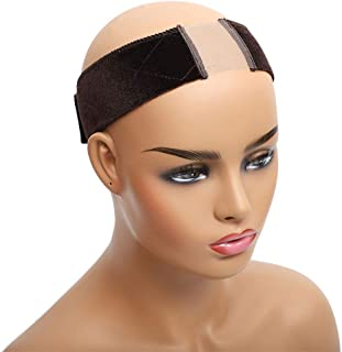 Non Slip Lace Wig Grip Band Velvet Wig Comfort Head Hair Band Extra Hold Wig Headband Adjustable Women Hair Scarf with 1 Wig Cap (Brown)
