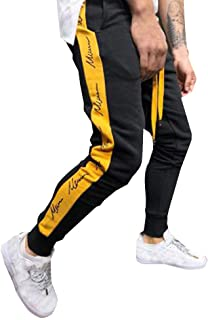 Qootent Men Cotton Sport Pants Casual Patchwork Drawstring Sweatpants Trousers