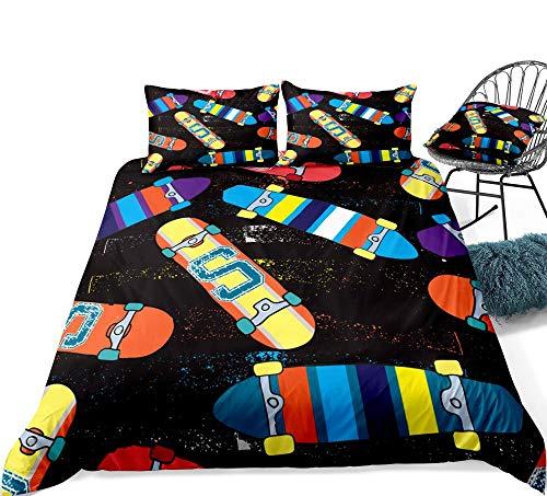 SUNHAON 3 Pieces Skateboard Bedding Boys Teens Sports Cartoon Duvet Cover Set Colorful Quilt Cover Queen Black Bed Set Dropship 220×240CM