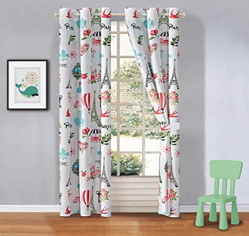 your zone home patio curtains Kids zone Home Linen 2 Panel Curtain Set with Grommet for Boys Girls Teens Bedroom Multicolor Set Paris Eiffel Tower Chandelier Roses Flowers Flying Balloon Rose Pink Green Turquoise White New