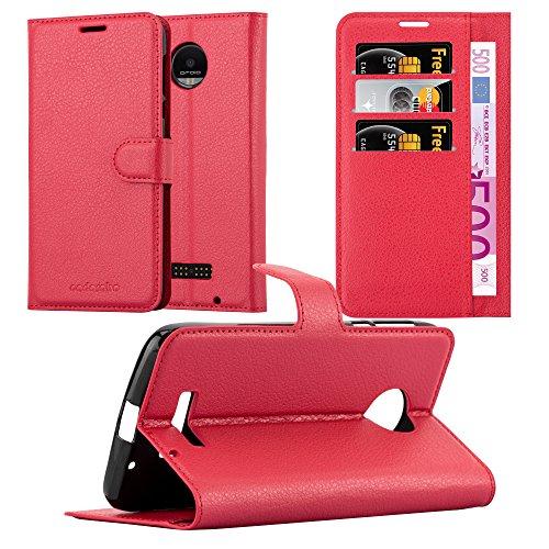 Cadorabo Hülle für Motorola Moto Z Force in Karmin ROT - Handyhülle mit Magnetverschluss, Standfunktion & Kartenfach - Hülle Cover Schutzhülle Etui Tasche Book Klapp Style