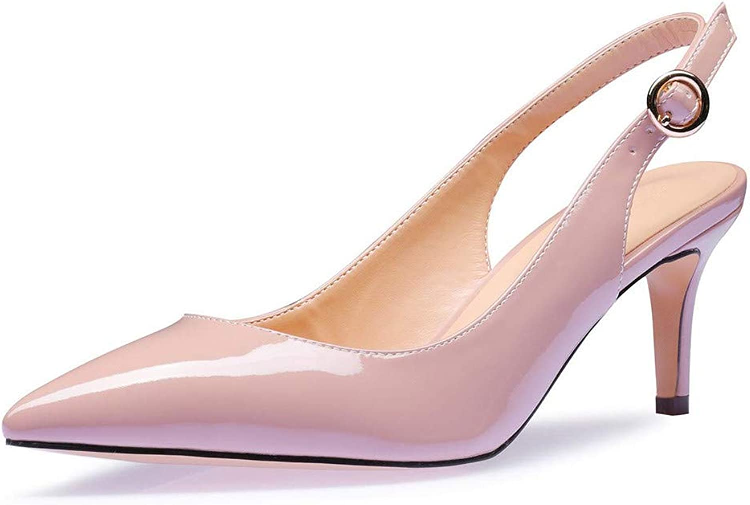 UMEXI Women Pointy Toe Slingback Kittent Heel Sandals Evening Buckle Pumps Dress shoes Nude