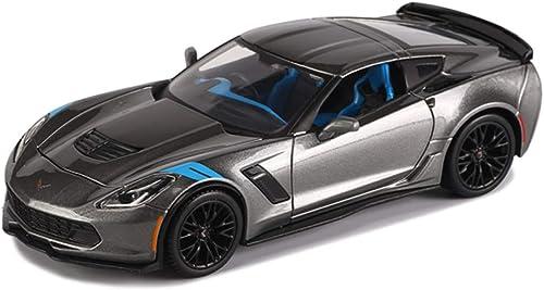 Zfggd-Modèle de voiture moulé sous Pression Corvette Roadster à l'échelle 1 24 - Modèle de Voiture en Alliage de Simulation Décoration de Jouet - Couleur gris argenté - 18.7x7.8x4.5CM