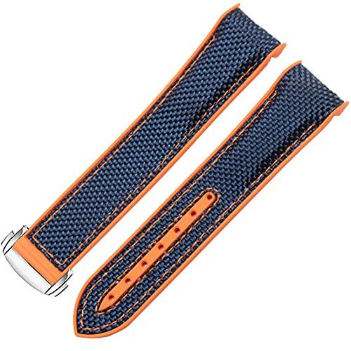 DLCYMY Pulsera de reloj para Omega 300 SeAMASTER 600 PLANET OCEAN hebilla plegable correa de silicona y nailon accesorios para reloj (Color de la correa: azul naranja plata, ancho de la correa: 22 mm)