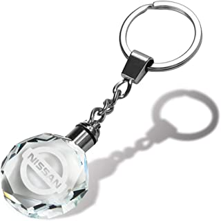 jiayuandz Crystal Car Logo Key Chain for Nissan, Laser Engraved Colorful LED Light Key Ring,Glass Keychain Decoration Accessories Pendant Gift