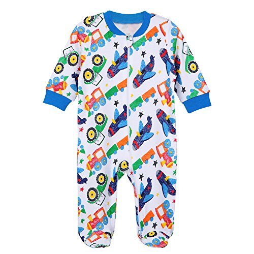 Boys Footed Pajamas Baby Zipper Sleepers Cars Train Romper Toddler Kids Cotton Pjs 9-12 m Moths Infant Newborn