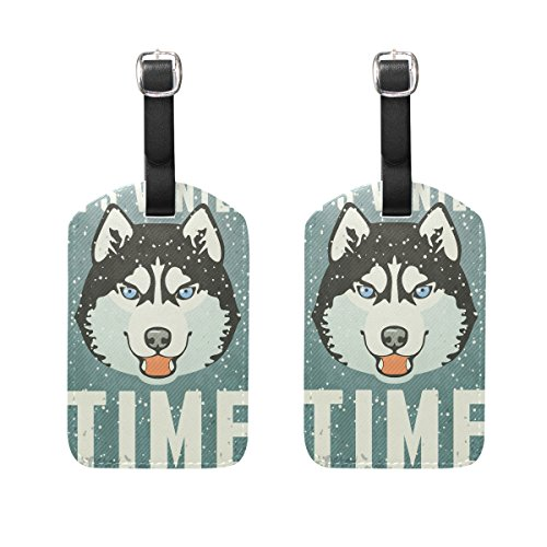 COOSUN Winter Poster With Husky Luggage Tags Travel Labels Tag Name Card Holder for Baggage Suitcase Bag Backpacks, 2 PCS