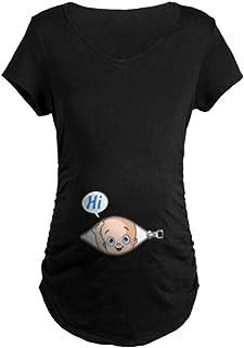 تي شيرت للحوامل باكمام قصيرة من مجموعة ملابس الحوامل المرحة بتصميم مضحك من مان مان