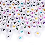 AONER (3 x 7MM) 400pcs Perles de Coeur Acrylique en Multicoloris et Noir pour DIY Collier Bracelet Fabrication de Bijoux (200pcs Multicoloris + 200pcs Noirs)