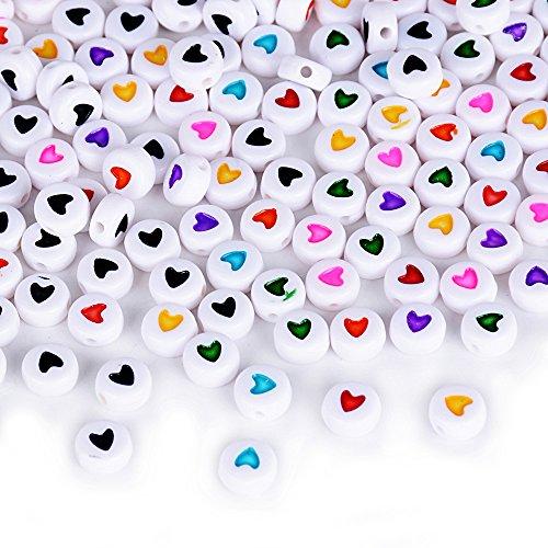 400 X Cuentas Redondas Corazón Colgantes Abalorios de Resina Acrílico Granos de Espaciador Mezcla Bricolaje DIY Regalo Cadena Collar Joyas Perlas Varios Modelos (3 * 7mm Cuentas de corazón* 40