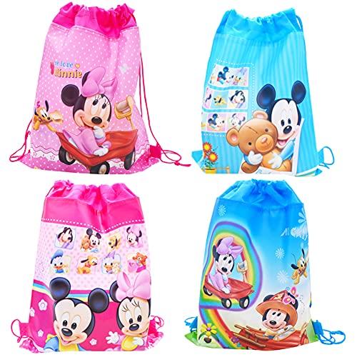 Babioms 4Pcs Drawstring Bags, Zaino con Coulisse Bambini, per Bambini Festa di Compleanno Borsa Sacchetto Festa, Borsa con coulisse Mickey Minnie