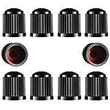 TYPHEERX Tappi per valvole per pneumatici, 10 pezzi, in plastica, con guarnizione rossa O-Ring per SUV, bicicletta, moto, camion, colore: nero