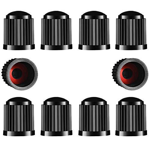 Ventilkappen Auto, 10 Stück Staubschutz Reifenventilkappen mit Dichtung für Fahrrad Motorrad ( Schwarz )