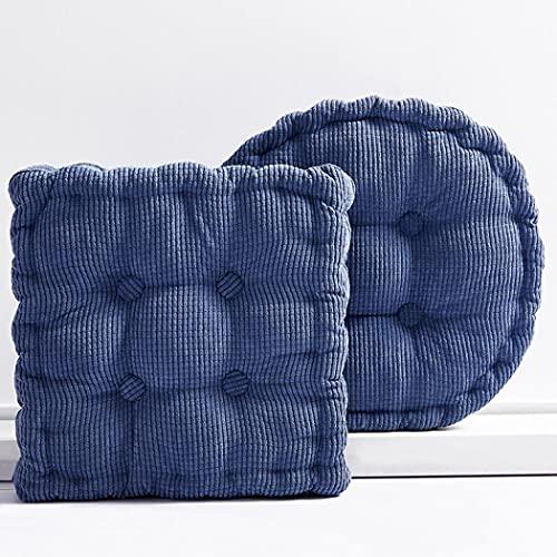Milkyway Cojines redondos y suaves, de algodón, antideslizantes, lavables, para sillones, sillones, sillas de ruedas, respaldo (gris, azul, 45 x 45 cuadrados (grosor de aproximadamente 10 cm)