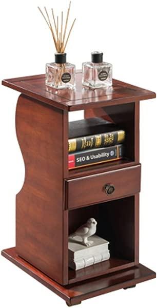床头柜床头柜实木可移动客厅沙发小侧柜 2 层卧室床头收纳柜尺寸 30x39x 65厘米 cm 颜色 A